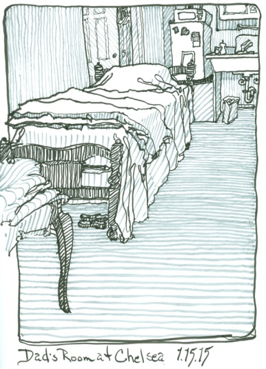 drawing of Dad's room at Chelsea